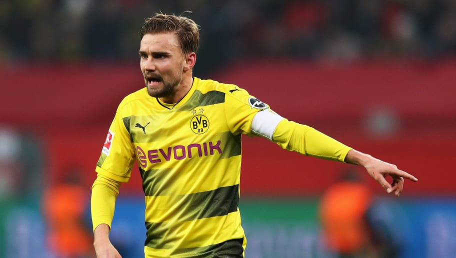 LEVERKUSEN, GERMANY - DECEMBER 02:  Marcel Schmelzer of Borussia Dortmund in action during the Bundesliga match between Bayer 04 Leverkusen and Borussia Dortmund at BayArena on December 2, 2017 in Leverkusen, Germany.  (Photo by Dean Mouhtaropoulos/Bongarts/Getty Images)