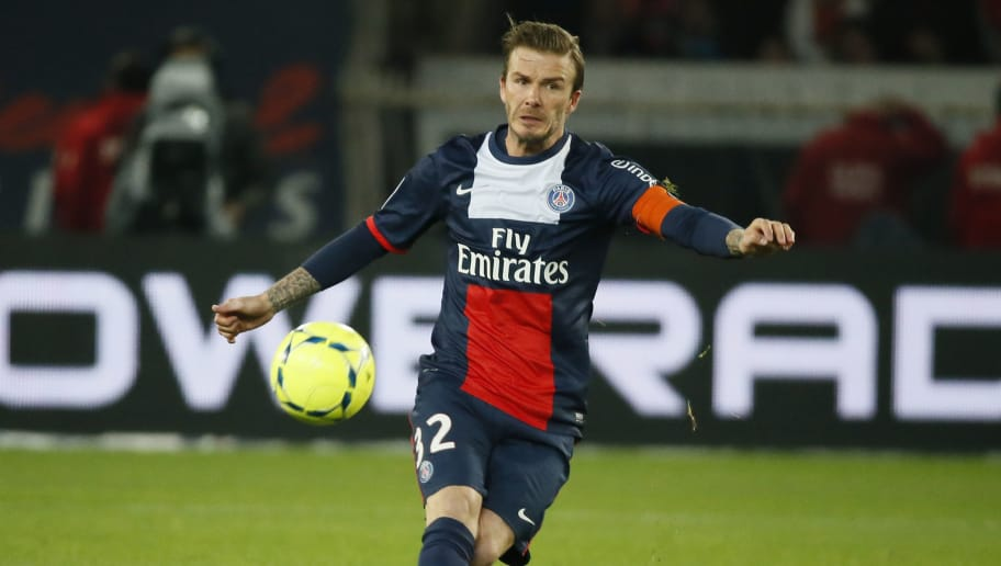 Paris Saint-Germain's English midfielder David Beckham runs during a French L1 football match between Paris St Germain and Brest on May 18, 2013 at Parc des Princes stadium in Paris.    AFP PHOTO KENZO TRIBOUILLARD        (Photo credit should read KENZO TRIBOUILLARD/AFP/Getty Images)