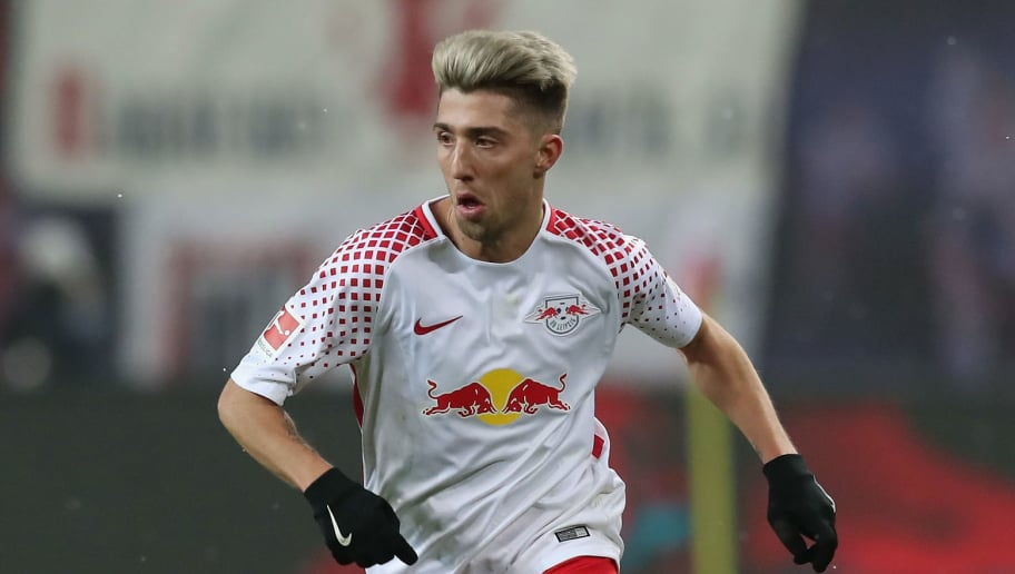 LEIPZIG, GERMANY - FEBRUARY 09:  Kevin Kampl of RB Leipzig runs with the ball during the Bundesliga match between RB Leipzig and FC Augsburg at Red Bull Arena on February 9, 2018 in Leipzig, Germany.  (Photo by Boris Streubel/Bongarts/Getty Images)