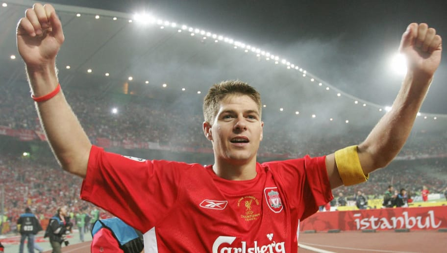 ISTANBUL, Turkey:  Liverpool's England's captain and midfielder Steven Gerrard greets supporters during the honour lap at the end of the UEFA Champions league football final AC Milan vs Liverpool, 25 May 2005 at the Ataturk Stadium in Istanbul.  Liverpool won 3-2 on penalties.  AFP PHOTO TARIK TINAZAY  (Photo credit should read TARIK TINAZAY/AFP/Getty Images)