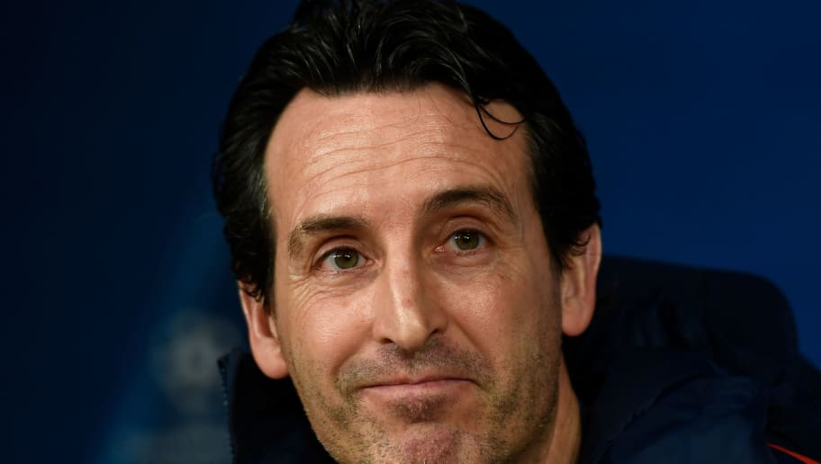 Paris Saint-Germain's Spanish coach Unai Emery gives a press conference at the Santiago Bernabeu stadium in Madrid on February 13, 2018 on the eve of their Champions' League football match against Real Madrid CF. / AFP PHOTO / GABRIEL BOUYS        (Photo credit should read GABRIEL BOUYS/AFP/Getty Images)