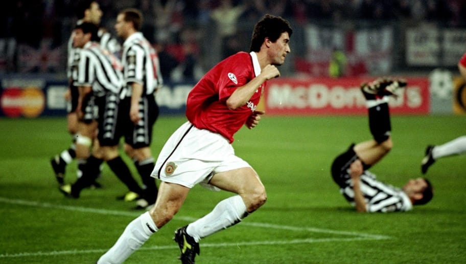 21 Apr 1999:  Manchester United captain Roy Keane wheels away after scoring in the UEFA Champions League semi-final second leg match against Juventus at the Stadio delle Alpi in Turin, Italy. United won 3-2 on the night to go through 4-3 on aggregate. \ Mandatory Credit: Allsport UK /Allsport