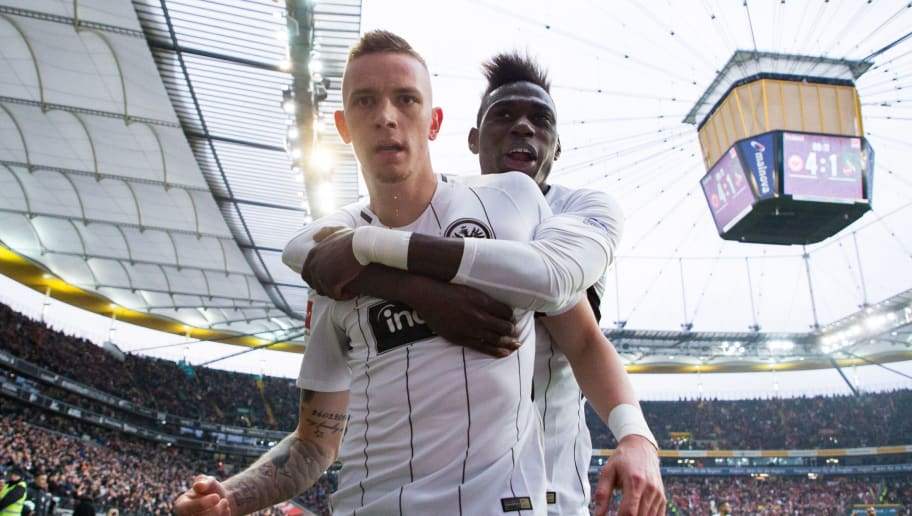 FRANKFURT AM MAIN, GERMANY - FEBRUARY 10: Marius Wolf of Frankfurt celebrates his team's fourth goal with team mate Danny da Costa during the Bundesliga match between Eintracht Frankfurt and 1. FC Koeln at Commerzbank-Arena on February 10, 2018 in Frankfurt am Main, Germany. (Photo by Simon Hofmann/Bongarts/Getty Images)