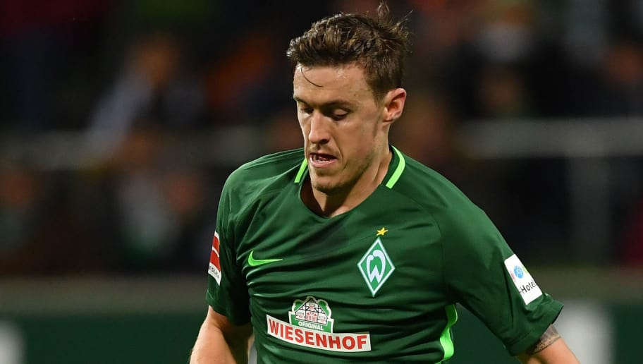 BREMEN, GERMANY - FEBRUARY 11:  Max Kruse of Bremen in action during the Bundesliga match between SV Werder Bremen and VfL Wolfsburg at Weserstadion on February 11, 2018 in Bremen, Germany.  (Photo by Stuart Franklin/Bongarts/Getty Images)