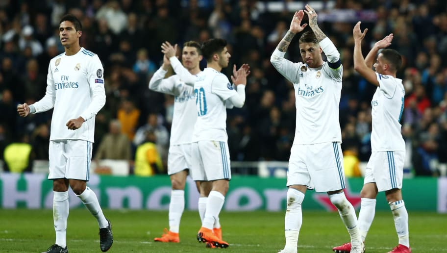 MADRID, SPAIN - FEBRUARY 14:  Sergio Ramos of Real Madrid celebrates after the UEFA Champions League Round of 16 First Leg match between Real Madrid and Paris Saint-Germain at Bernabeu on February 14, 2018 in Madrid, Spain.  (Photo by Gonzalo Arroyo Moreno/Getty Images)