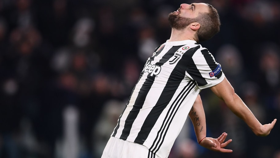 Juventus' forward from Argentina Gonzalo Higuain reacts during the UEFA Champions League round of sixteen first leg football match between Juventus and Tottenham Hotspur at The Allianz Stadium in Turin on February 13, 2018.  / AFP PHOTO / Marco BERTORELLO        (Photo credit should read MARCO BERTORELLO/AFP/Getty Images)