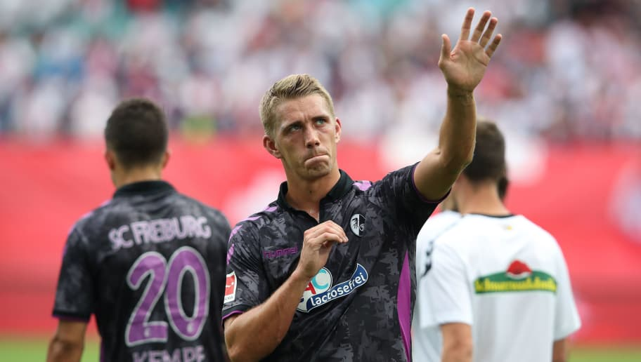 LEIPZIG, GERMANY - AUGUST 27: Nils Petersen of Freiburg reacts after the Bundesliga match between RB Leipzig and Sport-Club Freiburg at Red Bull Arena on August 27, 2017 in Leipzig, Germany. (Photo by Ronny Hartmann/Bongarts/Getty Images)