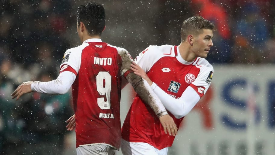 MAINZ, GERMANY - JANUARY 20:  Yoshinori Muto of Mainz is replaced by Emil Berggreen during the Bundesliga match between 1. FSV Mainz 05 and VfB Stuttgart at Opel Arena on January 20, 2018 in Mainz, Germany.  (Photo by Alex Grimm/Bongarts/Getty Images)
