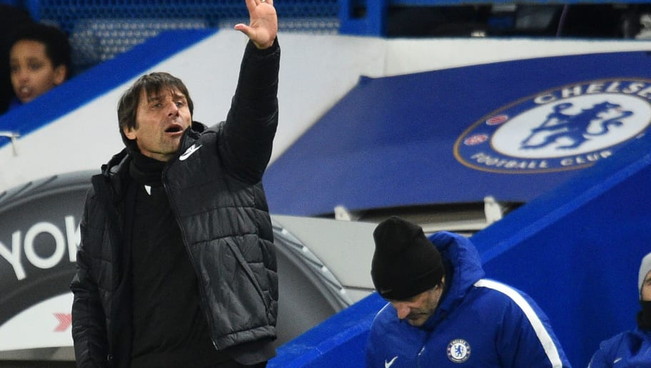 Chelsea's Italian head coach Antonio Conte gestures on the touchline during the English Premier League football match between Chelsea and West Bromwich Albion at Stamford Bridge in London on February 12, 2018. / AFP PHOTO / Glyn KIRK / RESTRICTED TO EDITORIAL USE. No use with unauthorized audio, video, data, fixture lists, club/league logos or 'live' services. Online in-match use limited to 75 images, no video emulation. No use in betting, games or single club/league/player publications.  /         (Photo credit should read GLYN KIRK/AFP/Getty Images)