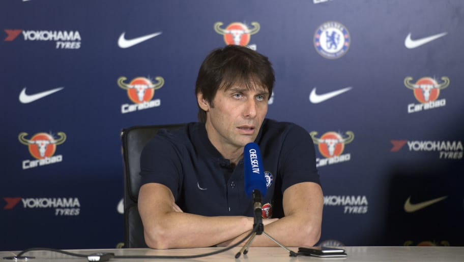 Chelsea's Italian head coach Antonio Conte gives a press conference at Chelsea's Cobham training facility in Stoke D'Abernon, southwest of London, on February 9, 2018 ahead of their English Premier League football match against West Bromwich Albion. / AFP PHOTO / Justin TALLIS / RESTRICTED TO EDITORIAL USE. No use with unauthorized audio, video, data, fixture lists, club/league logos or 'live' services. Online in-match use limited to 75 images, no video emulation. No use in betting, games or single club/league/player publications.  /         (Photo credit should read JUSTIN TALLIS/AFP/Getty Images)