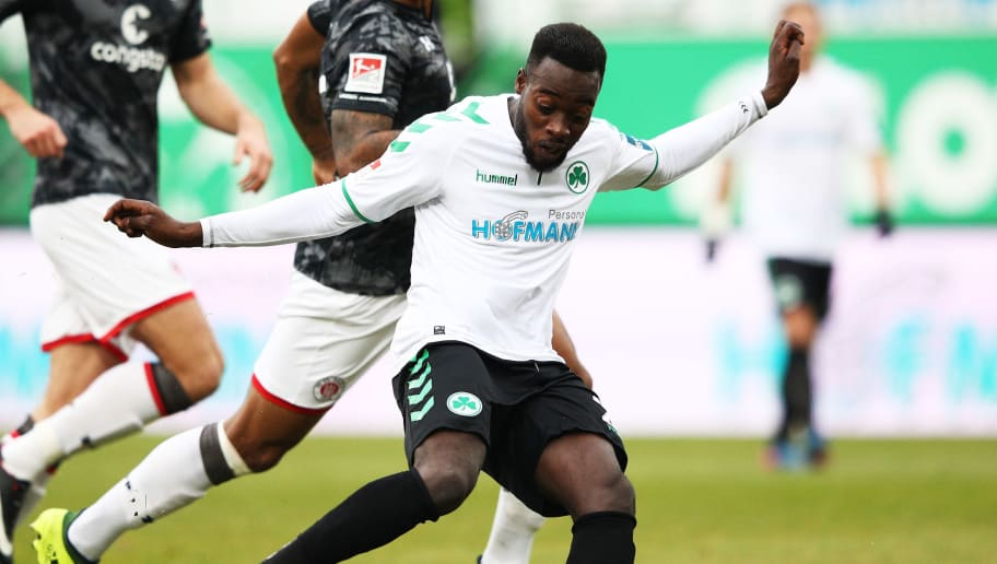 FUERTH, GERMANY - NOVEMBER 26:  Khaled Narey of SpVgg Greuther Fuerth in action during the Second Bundesliga match between SpVgg Greuther Fuerth and FC St. Pauli at Sportpark Ronhof Thomas Sommer on November 26, 2017 in Fuerth, Germany.  (Photo by Adam Pretty/Bongarts/Getty Images)