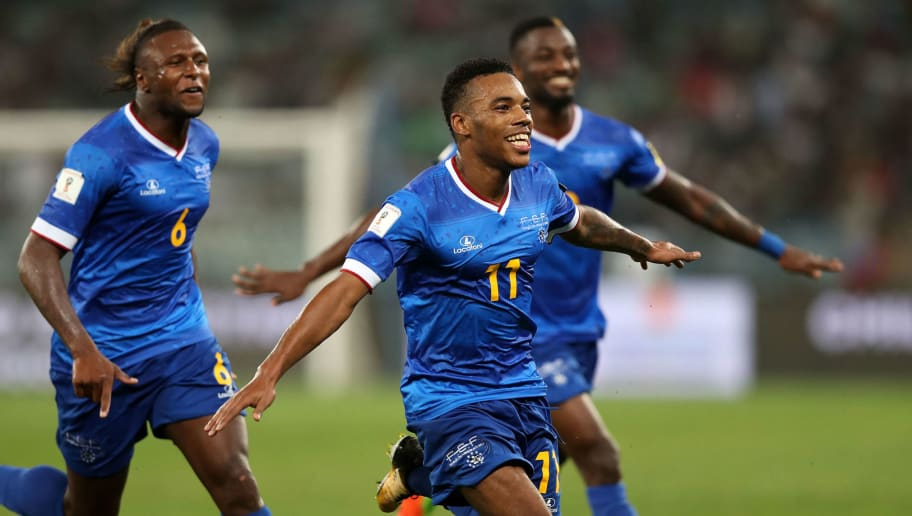 Cape Verde's Garry Rodrigues celebrates after scoring a goal during the 2018 World Cup Qualifiers match South Africa vs Cap Verde at the Moses Mabhida Stadium in Durban on September 5, 2017. / AFP PHOTO / Anesh DEBIKY        (Photo credit should read ANESH DEBIKY/AFP/Getty Images)
