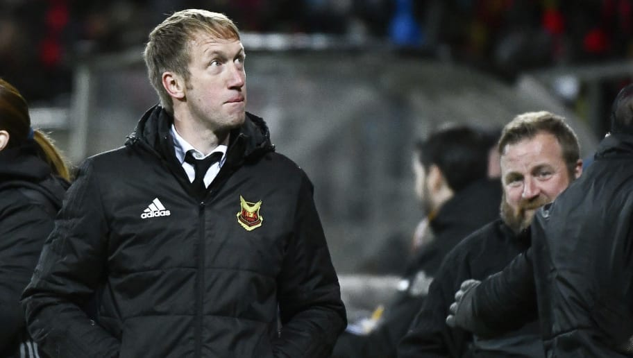 Ostersunds' coach from England Graham Potter attends the UEFA Europa League group F fotball match Ostersund v Athletic Bilbao on October 18, 2017.  / AFP PHOTO / TT NEWS AGENCY / Robert HENRIKSSON / Sweden OUT        (Photo credit should read ROBERT HENRIKSSON/AFP/Getty Images)