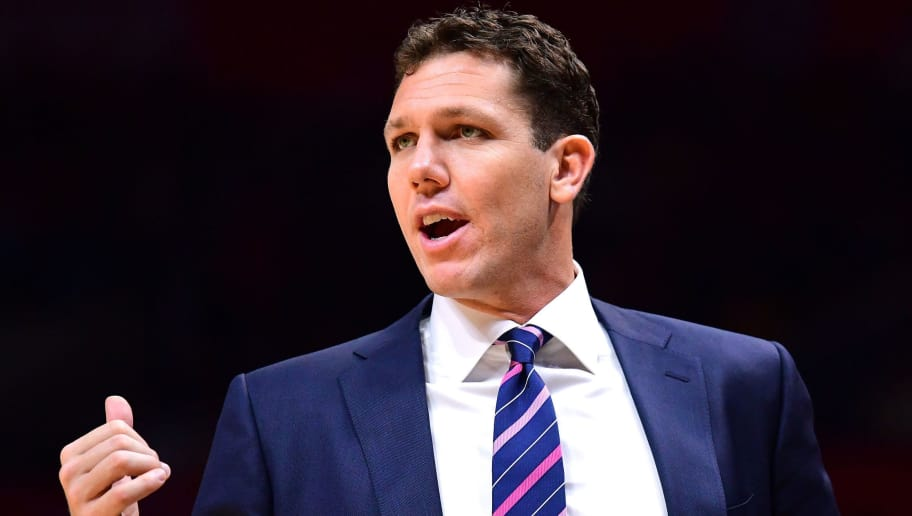 LOS ANGELES, CA - OCTOBER 13:  Luke Walton of the Los Angeles Lakers on the sidelines during a 111-104 win over the LA Clippers at Staples Center on October 10, 2017 in Los Angeles, California.  (Photo by Harry How/Getty Images)