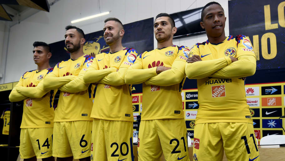 America's new footballers (L to R) US player Joe Corona, Argentinian player Emanuel Aguilera, French player Jeremy Menez, Mexican player Henry Martin and Colombian player Andres Ibarguen pose after a press conference at the Azteca stadium in Mexico City on January 26, 2018.  Mexican football club America presented its new players to the press Friday. / AFP PHOTO / ALFREDO ESTRELLA        (Photo credit should read ALFREDO ESTRELLA/AFP/Getty Images)
