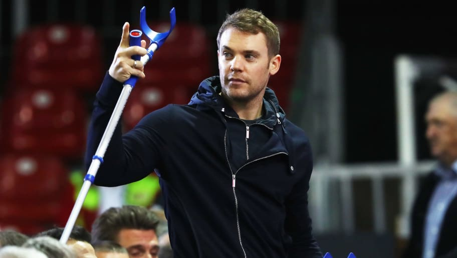 MUNICH, GERMANY - NOVEMBER 24:  Manuel Neuer of FC Bayern Muenchen attends the FC Bayern Muenchen Annual General Assembly at Audi-Dome on November 24, 2017 in Munich, Germany.  (Photo by Alexander Hassenstein/Bongarts/Getty Images)