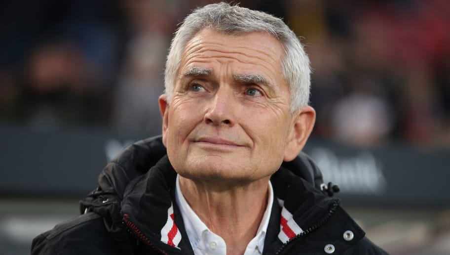 STUTTGART, GERMANY - OCTOBER 21:  Wolfgang Dietrich, president of VfB Stuttgart looks on prior to the Second Bundesliga match between VfB Stuttgart and TSV 1860 Muenchen at Mercedes-Benz Arena on October 21, 2016 in Stuttgart, Germany.  (Photo by Thomas Niedermueller/Bongarts/Getty Images)