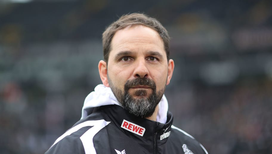 FRANKFURT AM MAIN, GERMANY - FEBRUARY 10: Stefan Ruthenbeck, coach of Koeln, looks on before the Bundesliga match between Eintracht Frankfurt and 1. FC Koeln at Commerzbank-Arena on February 10, 2018 in Frankfurt am Main, Germany. (Photo by Simon Hofmann/Bongarts/Getty Images)