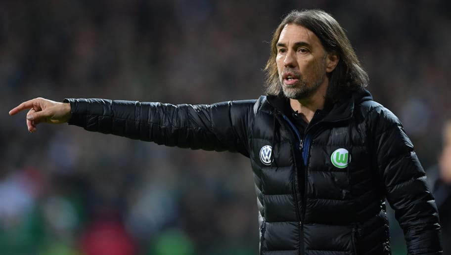 BREMEN, GERMANY - FEBRUARY 11:  Martin Schmidt, head coach of Wolfsburg looks on during the Bundesliga match between SV Werder Bremen and VfL Wolfsburg at Weserstadion on February 11, 2018 in Bremen, Germany.  (Photo by Stuart Franklin/Bongarts/Getty Images)