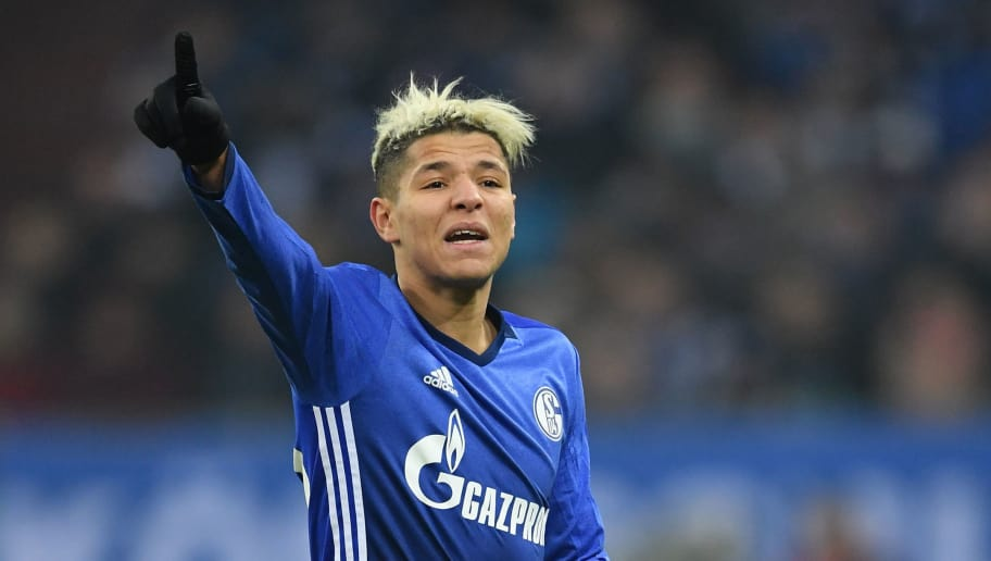 GELSENKIRCHEN, GERMANY - FEBRUARY 07:  Amine Harit of Schalke gestures during the DFB Pokal quarter final match between FC Schalke 04 and VfL Wolfsburg at Veltins-Arena on February 7, 2018 in Gelsenkirchen, Germany.  (Photo by Stuart Franklin/Bongarts/Getty Images)