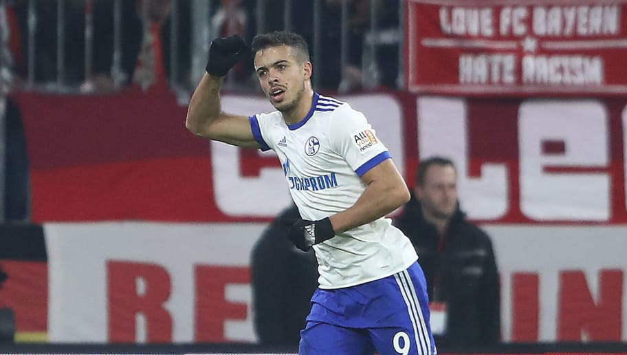 MUNICH, GERMANY - FEBRUARY 10: Franco Di Santo of Schalke celebrates after he scored a goal to make it 1:1 during the Bundesliga match between FC Bayern Muenchen and FC Schalke 04 at Allianz Arena on February 10, 2018 in Munich, Germany. (Photo by Alex Grimm/Bongarts/Getty Images)