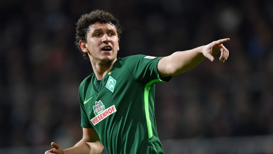 BREMEN, GERMANY - FEBRUARY 11:  Milos Veljkovic of Bremen points during the Bundesliga match between SV Werder Bremen and VfL Wolfsburg at Weserstadion on February 11, 2018 in Bremen, Germany.  (Photo by Stuart Franklin/Bongarts/Getty Images)