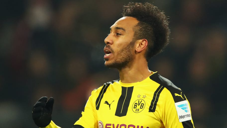 DORTMUND, GERMANY - DECEMBER 20:  Pierre-Emerick Aubameyang of Borussia Dortmund reacts during the Bundesliga match between Borussia Dortmund and FC Augsburg at Signal Iduna Park on December 20, 2016 in Dortmund, Germany.  (Photo by Dean Mouhtaropoulos/Bongarts/Getty Images)