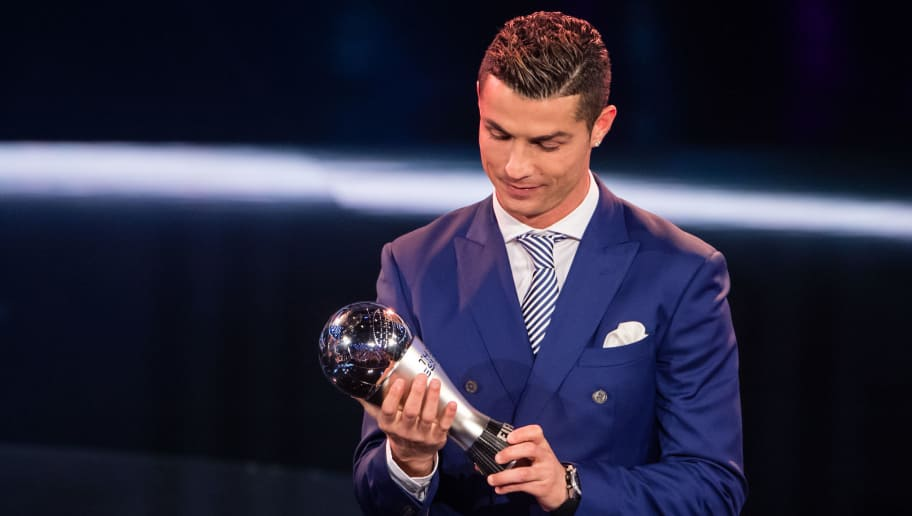 ZURICH, SWITZERLAND - JANUARY 09: Cristiano Ronaldo of Portugal and Real Madrid receives The Best FIFA Men's Player Award during The Best FIFA Football Awards 2016 on January 9, 2017 in Zurich, Switzerland. (Photo by Philipp Schmidli/Getty Images)
