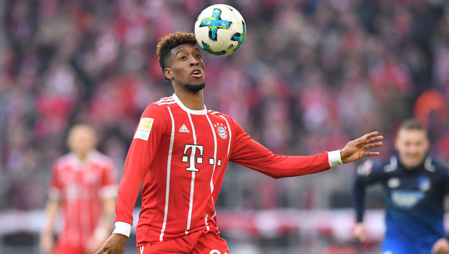 MUNICH, GERMANY - JANUARY 27: Kingsley Coman of  Muenchen plays the ball during the Bundesliga match between FC Bayern Muenchen and TSG 1899 Hoffenheim at Allianz Arena on January 27, 2018 in Munich, Germany. (Photo by Sebastian Widmann/Bongarts/Getty Images)