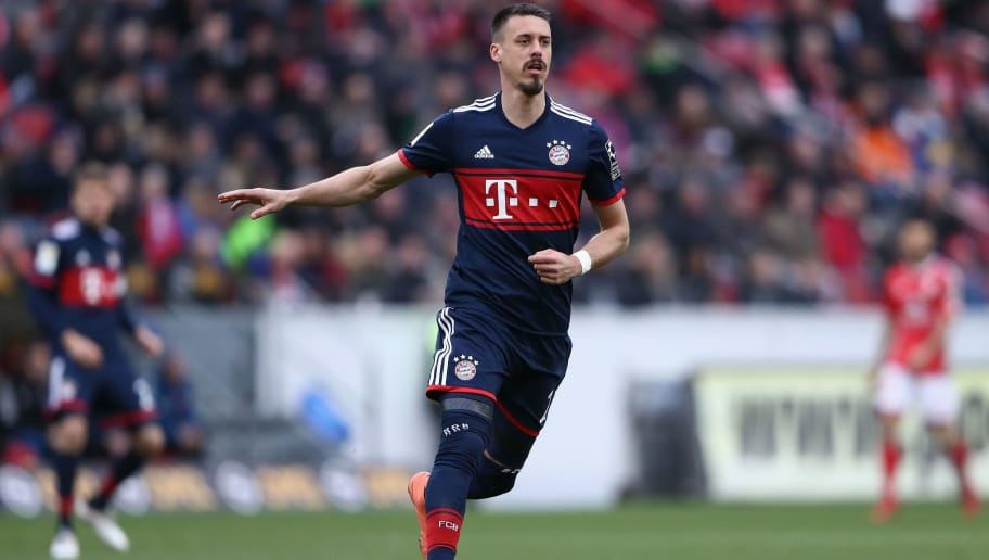 MAINZ, GERMANY - FEBRUARY 03: Sandro Wagner of Muenchen reacts during the Bundesliga match between 1. FSV Mainz 05 and FC Bayern Muenchen at Opel Arena on February 3, 2018 in Mainz, Germany.  (Photo by Alex Grimm/Bongarts/Getty Images)