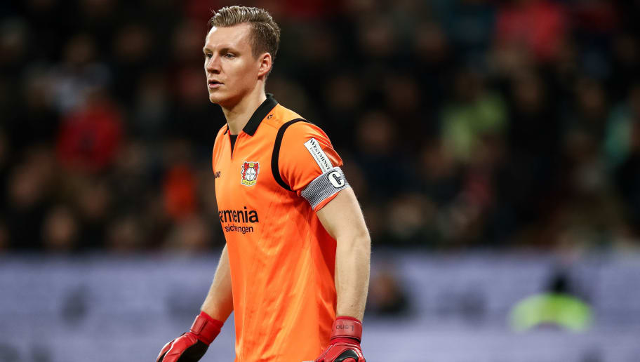 LEVERKUSEN, GERMANY - JANUARY 28: Bernd Leno #1 of Bayer Leverkusen looks on during the Bundesliga match between Bayer 04 Leverkusen and 1. FSV Mainz 05 at BayArena on January 28, 2018 in Leverkusen, Germany. (Photo by Maja Hitij/Bongarts/Getty Images)