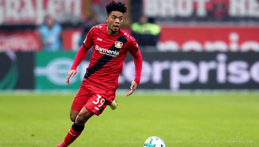 LEVERKUSEN, GERMANY - FEBRUARY 10: Benjamin Henrichs of Leverkusen runs with the ball during the Bundesliga match between Bayer 04 Leverkusen and Hertha BSC at BayArena on February 10, 2018 in Leverkusen, Germany. The match between Leverkusen and Hertha ended 0-2. (Photo by Christof Koepsel/Bongarts/Getty Images)