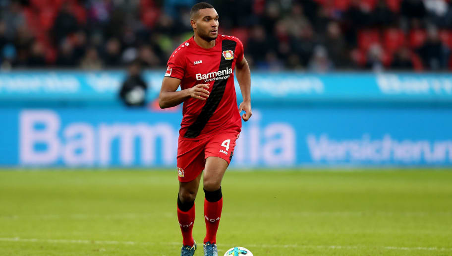 LEVERKUSEN, GERMANY - FEBRUARY 10: Jonathan Tah of Leverkusen runs with the ball during the Bundesliga match between Bayer 04 Leverkusen and Hertha BSC at BayArena on February 10, 2018 in Leverkusen, Germany. The match between Leverkusen and Hertha ended 0-2. (Photo by Christof Koepsel/Bongarts/Getty Images)