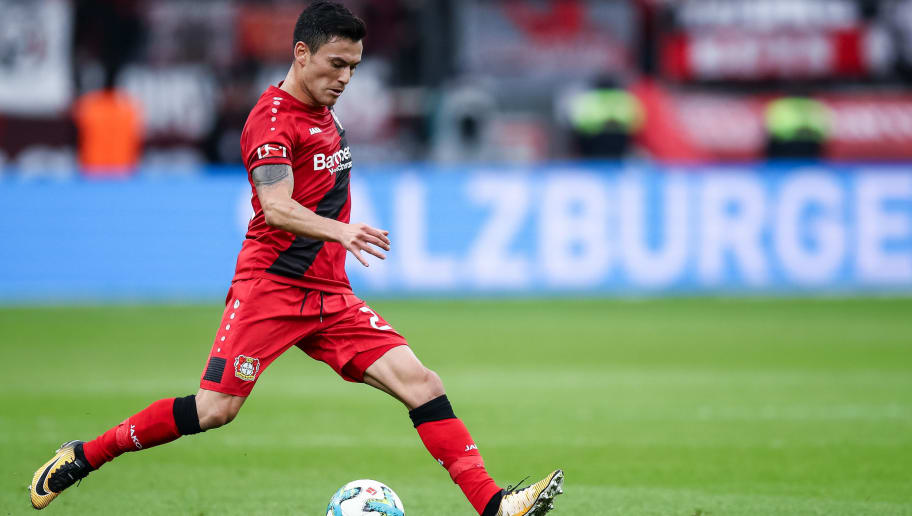 LEVERKUSEN, GERMANY - JANUARY 28: Charles Aranguiz #20 of Bayer Leverkusen controls the ball during the Bundesliga match between Bayer 04 Leverkusen and 1. FSV Mainz 05 at BayArena on January 28, 2018 in Leverkusen, Germany. (Photo by Maja Hitij/Bongarts/Getty Images)