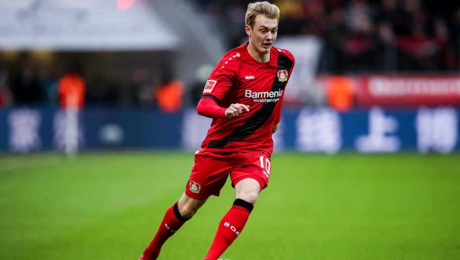 LEVERKUSEN, GERMANY - JANUARY 28: Julian Brandt #10 of Bayer Leverkusen controls the ball during the Bundesliga match between Bayer 04 Leverkusen and 1. FSV Mainz 05 at BayArena on January 28, 2018 in Leverkusen, Germany. (Photo by Maja Hitij/Bongarts/Getty Images)