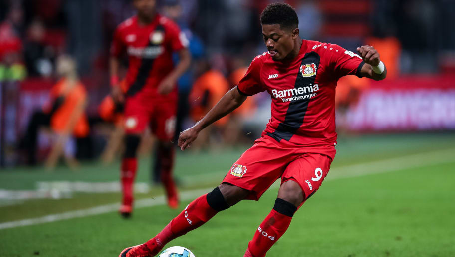 LEVERKUSEN, GERMANY - JANUARY 28: Leon Bailey #9 of Bayer Leverkusen controls the ball during the Bundesliga match between Bayer 04 Leverkusen and 1. FSV Mainz 05 at BayArena on January 28, 2018 in Leverkusen, Germany. (Photo by Maja Hitij/Bongarts/Getty Images)