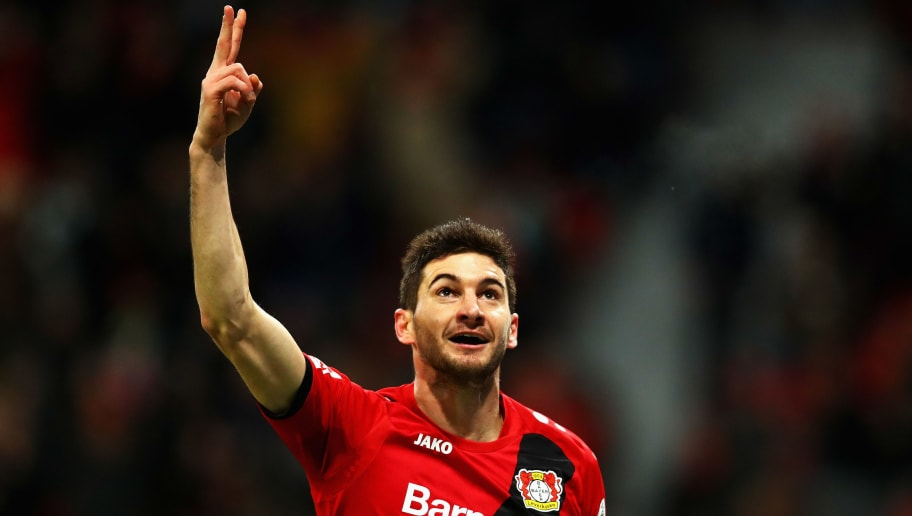 LEVERKUSEN, GERMANY - DECEMBER 13:  Lucas Alario of Bayer 04 Leverkusen celebrates scoring his teams first goal of the game during the Bundesliga match between Bayer 04 Leverkusen and SV Werder Bremen at BayArena on December 13, 2017 in Leverkusen, Germany.  (Photo by Dean Mouhtaropoulos/Bongarts/Getty Images)