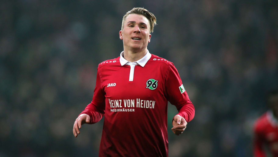 HANOVER, GERMANY - FEBRUARY 10: Felix Klaus of Hannover 96 celebrates his team's second goal scoring during the Bundesliga match between Hannover 96 and Sport-Club Freiburg at HDI-Arena on February 10, 2018 in Hanover, Germany. (Photo by Selim Sudheimer/Bongarts/Getty Images)