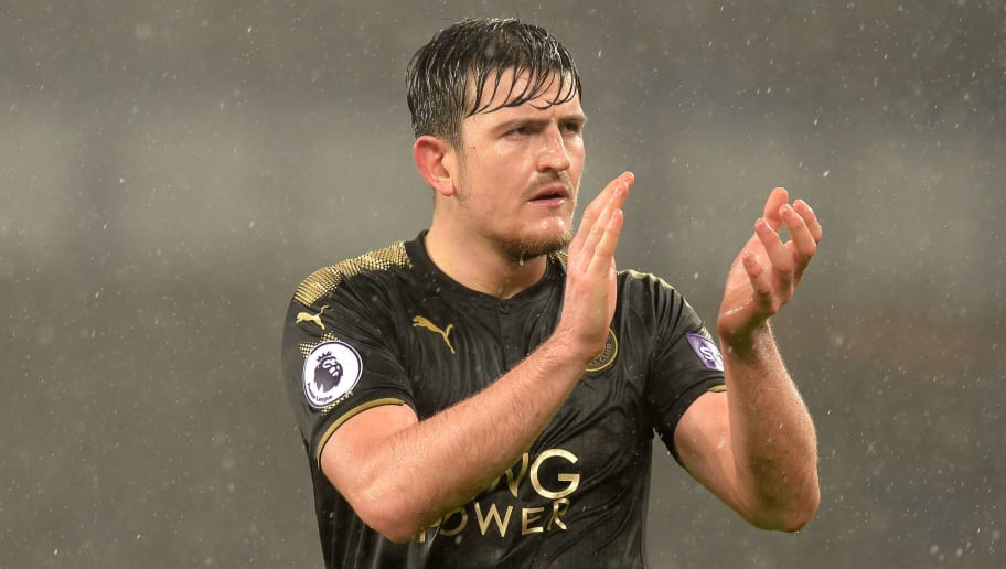 LIVERPOOL, ENGLAND - JANUARY 31:  Harry Maguire of Leicester City applauds fans after the Premier League match between Everton and Leicester City at Goodison Park on January 31, 2018 in Liverpool, England.  (Photo by Mark Runnacles/Getty Images)