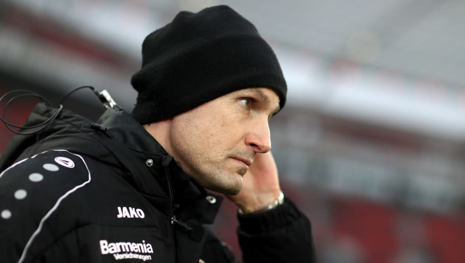 LEVERKUSEN, GERMANY - FEBRUARY 10: Head coach Heiko Herrlich of Leverkusen looks on prior to the Bundesliga match between Bayer 04 Leverkusen and Hertha BSC at BayArena on February 10, 2018 in Leverkusen, Germany. (Photo by Christof Koepsel/Bongarts/Getty Images)