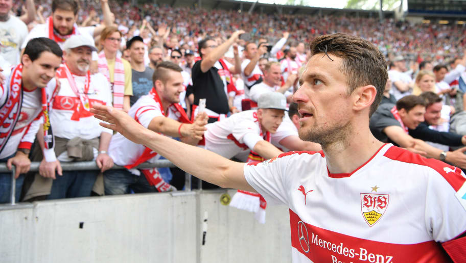 HANOVER, GERMANY - MAY 14:  Christian Gentner of Stuttgart celebrates with fans after the Second Bundesliga match between Hannover 96 and VfB Stuttgart at HDI-Arena on May 14, 2017 in Hanover, Germany.  (Photo by Stuart Franklin/Bongarts/Getty Images)