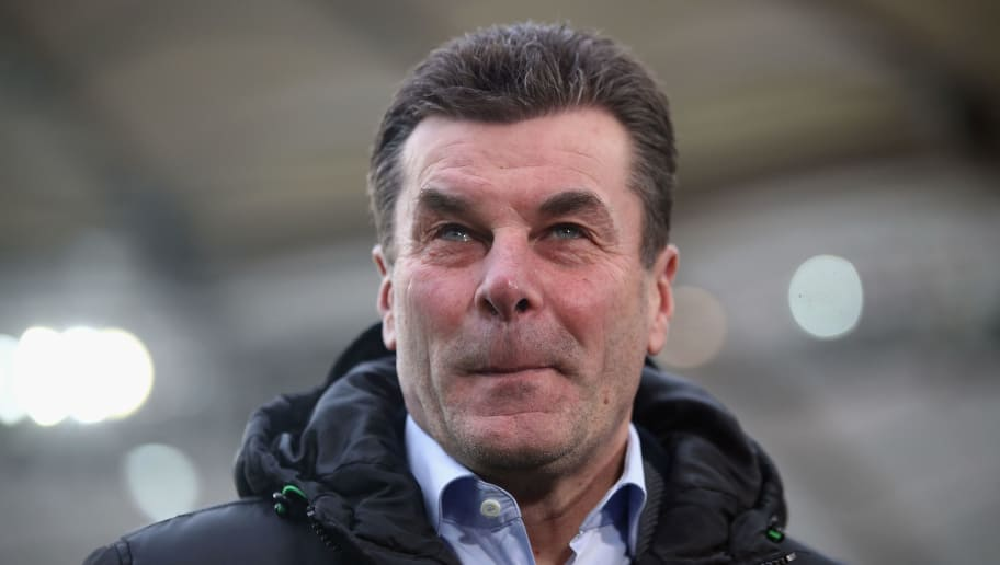 STUTTGART, GERMANY - FEBRUARY 11: Head coach Dieter Hecking of Moenchengladbach looks on prior to the Bundesliga match between VfB Stuttgart and Borussia Moenchengladbach at Mercedes-Benz Arena on February 11, 2018 in Stuttgart, Germany.  (Photo by Alex Grimm/Bongarts/Getty Images)