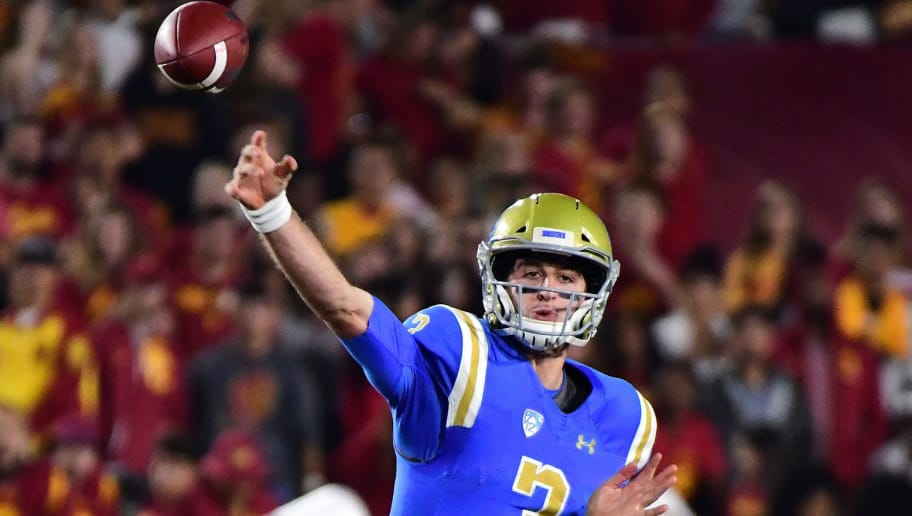 LOS ANGELES, CA - NOVEMBER 18:  Josh Rosen #3 of the UCLA Bruins passes during the fourth quarter against the USC Trojans at Los Angeles Memorial Coliseum on November 18, 2017 in Los Angeles, California.  (Photo by Harry How/Getty Images)