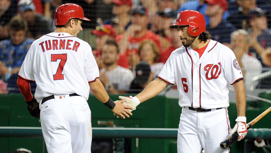 WASHINGTON, DC - SEPTEMBER 12:  Trea Turner #7 of the Washington Nationals celebrates with Anthony Rendon #6 after scoring in the first inning against the New York Mets at Nationals Park on September 12, 2016 in Washington, DC.  (Photo by Greg Fiume/Getty Images)