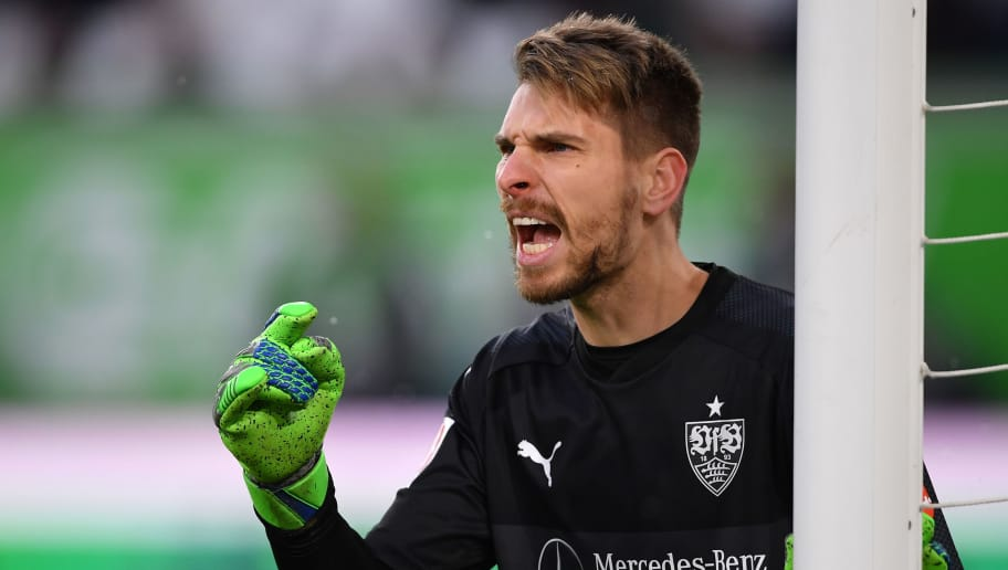 WOLFSBURG, GERMANY - FEBRUARY 03:  Ron-Robert Zieler of Stuttgart shouts during the Bundesliga match between VfL Wolfsburg and VfB Stuttgart at Volkswagen Arena on February 3, 2018 in Wolfsburg, Germany.  (Photo by Stuart Franklin/Bongarts/Getty Images)