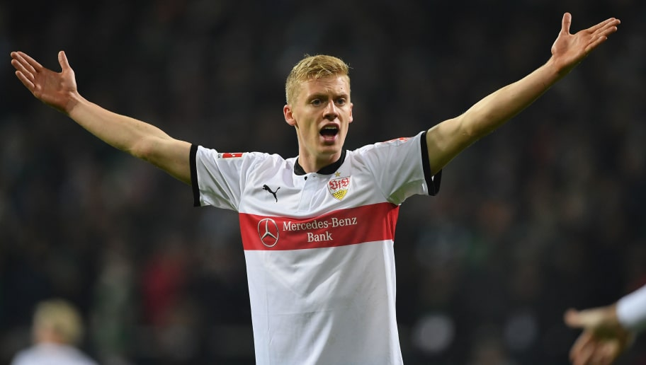 BREMEN, GERMANY - DECEMBER 02: Timo Baumgartl  of Stuttgart signals to the referees assistant for a video judgement off side for the second goal during the Bundesliga match between SV Werder Bremen and VfB Stuttgart at Weserstadion on December 2, 2017 in Bremen, Germany.  (Photo by Stuart Franklin/Bongarts/Getty Images)