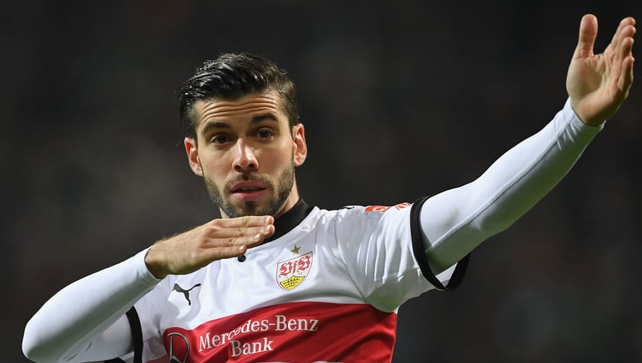 BREMEN, GERMANY - DECEMBER 02:  Emiliano Insua of Stuttgart signals to the referees assistant for a video judgement off side for the second goal during the Bundesliga match between SV Werder Bremen and VfB Stuttgart at Weserstadion on December 2, 2017 in Bremen, Germany.  (Photo by Stuart Franklin/Bongarts/Getty Images)