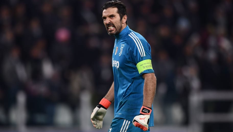Juventus' goalkeeper from Italy Gianluigi Buffon reacts during the UEFA Champions League round of sixteen first leg football match between Juventus and Tottenham Hotspur at The Allianz Stadium in Turin on February 13, 2018.  / AFP PHOTO / Marco BERTORELLO        (Photo credit should read MARCO BERTORELLO/AFP/Getty Images)