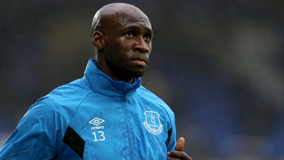 LIVERPOOL, ENGLAND - FEBRUARY 10:  Eliaquim Mangala of Everton warms up ahead of the Premier League match between Everton and Crystal Palace at Goodison Park on February 10, 2018 in Liverpool, England.  (Photo by Mark Robinson/Getty Images)