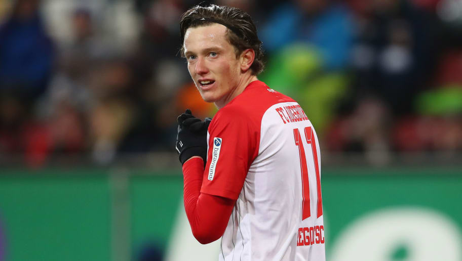 AUGSBURG, GERMANY - DECEMBER 10:  Michael Gregoritsch of Augsburg looks on during the Bundesliga match between FC Augsburg and Hertha BSC at WWK-Arena on December 10, 2017 in Augsburg, Germany.  (Photo by Alexander Hassenstein/Bongarts/Getty Images)